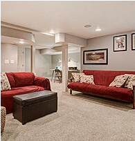 Living Room Red Sofa - Faulker Realty Group